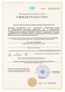 Свидетельство о внесении записи в Единый государственный реестр